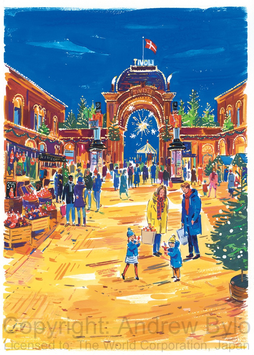 Illustration of Tivoli Gardens for Japanese clothing brand Dessin