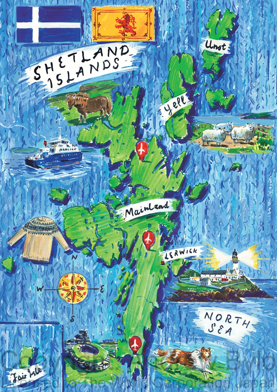 Autumn image: map of Shetland for clothing brand 'Dessin' in Japan